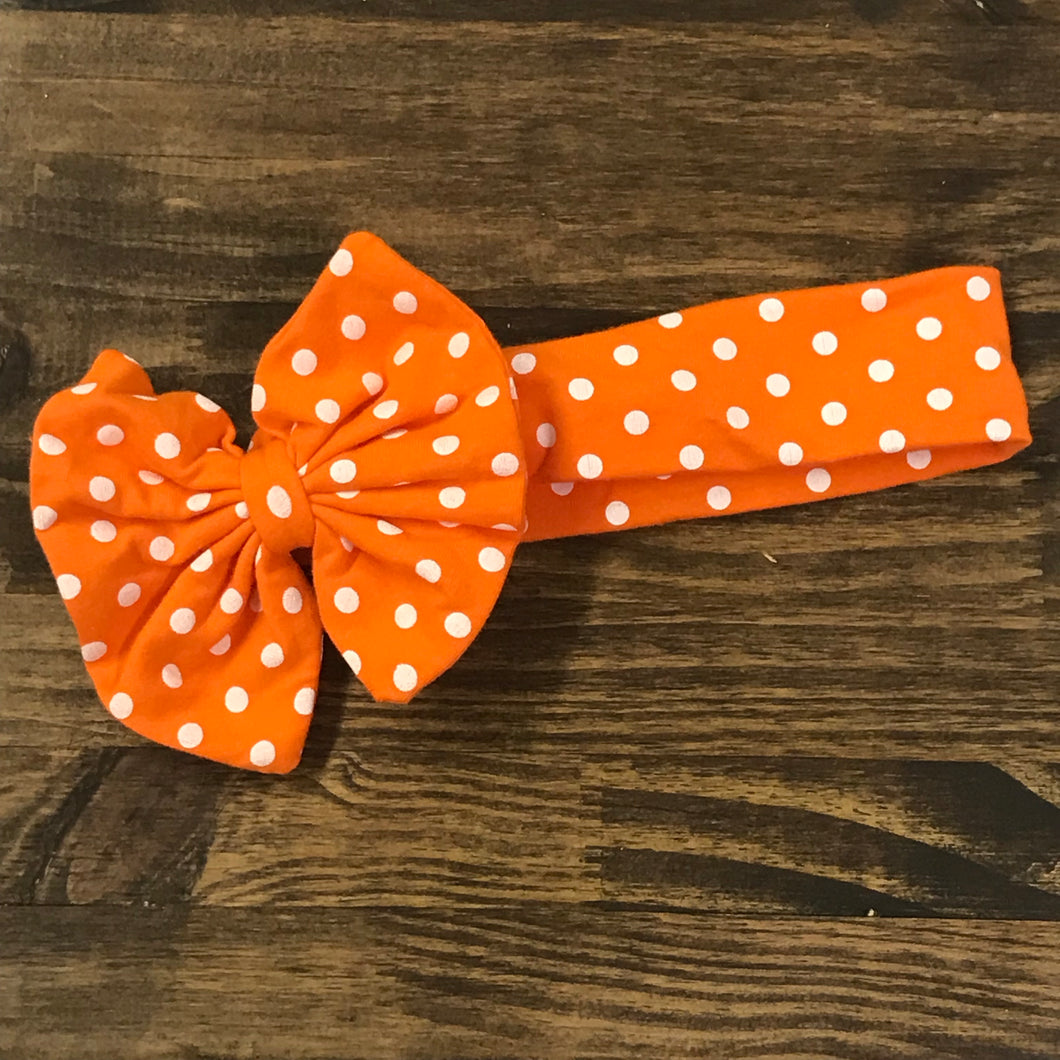 Orange Polka Dot Hair Bow Hair Wrap
