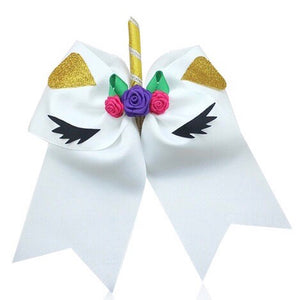 "7"" • White • Unicorn Cheer Bow - with ponytail band"