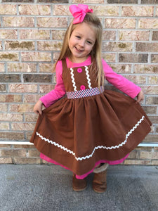 3T/4T • Gingerbread Button Dress (pink shirt not included)