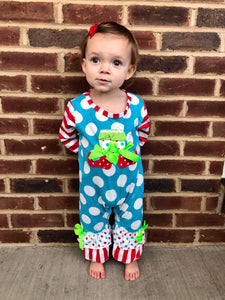 6/12m • Embroidered Blue Christmas Elf Ruffle Romper