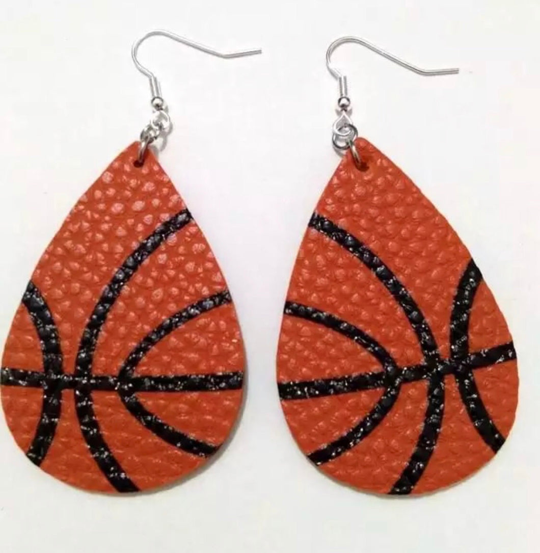 Basketball Faux Leather Earrings