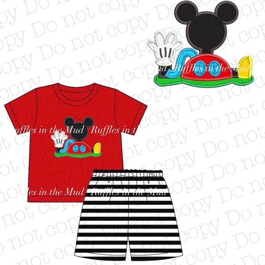 7/8 • Mickey Mouse Clubhouse Applique Shorts Set