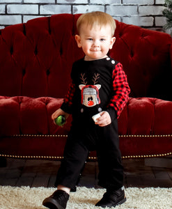 12/18m • Embroidered Buffalo Plaid Reindeer Romper