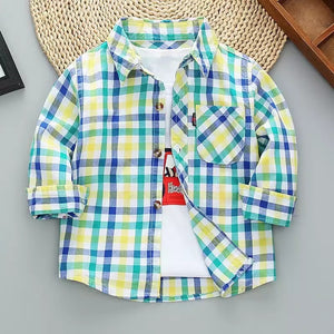 2T, 5/6 • Green & Blue Button Down Shirt