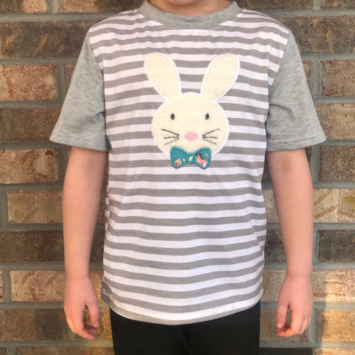 3T • Embroidered Fuzzy Bunny Gray Striped Raglan
