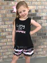 Long Live Summer Striped Pom-Pom Shorts with Hair Bow Wrap