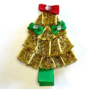 "Glitter Christmas Tree • 3"" Sculpted Bow"