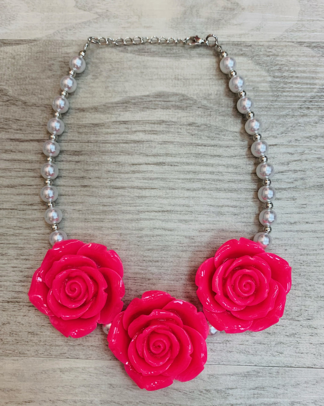 Hot Pink • Triple Rose Pearl Necklace