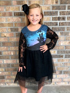 4T, 10/12-18/20 • House on Haunted Hill Lace Sleeve Tutu Dress