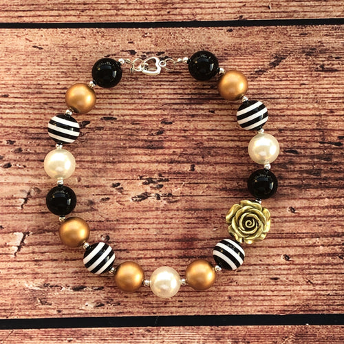 Black, White, & Gold Rose Chunky Bead Necklace