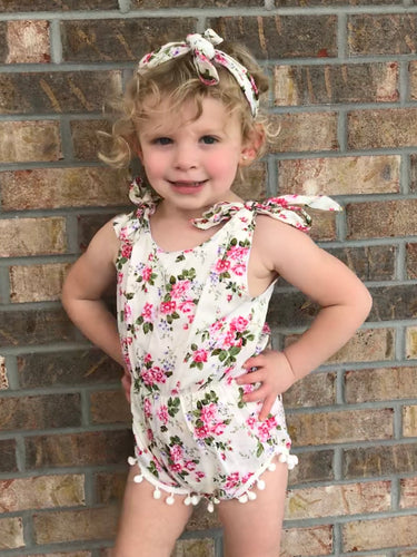 Cream Floral Pom-Pom Romper with Retro Tie Headband