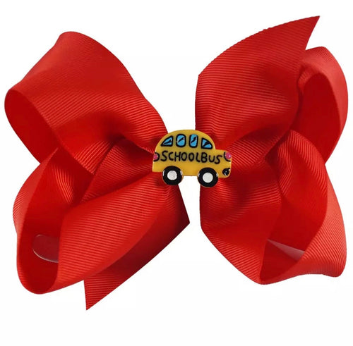 "5"" • School Bus Bow - Red"