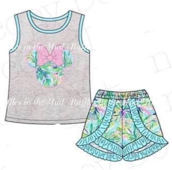 5/6 •Lily Inspired• Palm Tree Minnie Applique Set
