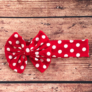Red Polka Dot Hair Bow Hair Wrap