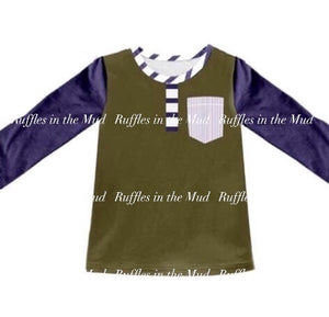 3/6m-7/8 • Navy & Brown Pocket Raglan