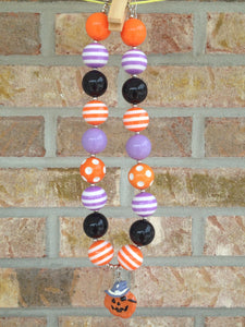 Pirate Pumpkin Chunky Bead Necklace