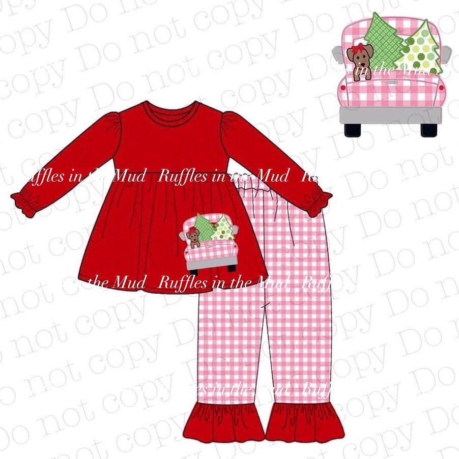 Christmas Puppy Truck Pink Pants Set • PREORDER CLOSES SATURDAY, JULY 18