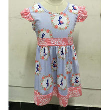 4T, 5/6 • Coral & Blue Bunny DRESS