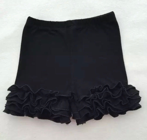 6/12m-7/8 • Black Icing Ruffle Shorts