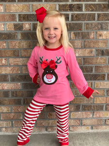 5/6, 6/7 • Pink & Red Striped Reindeer Pajamas