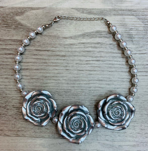 Silver • Triple Rose Pearl Necklace