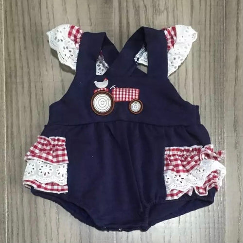 0/3m-12/18m • Little Plaid Tractor Ruffle Butt Romper