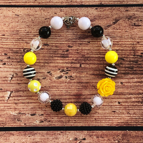 Black & Yellow Rose Chunky Bead Necklace • IN STOCK