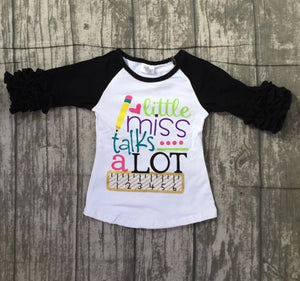 Little Sister Sizes • Little Miss Talks A Lot Ruffle Raglan • PREORDER CLOSES SATURDAY, JULY 14