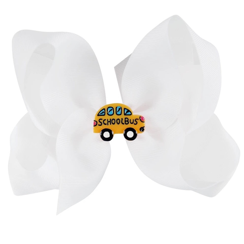 "5"" • School Bus Bow - White"