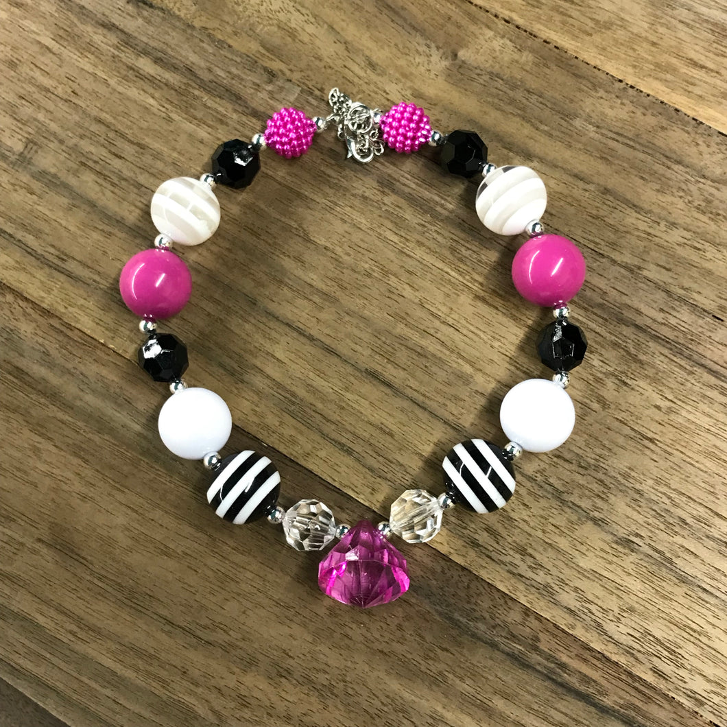 Pink, Black, & Striped Chunky Bead Jewel Necklace