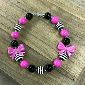 Pink, Black, & Striped Chunky Bead Bow Necklace