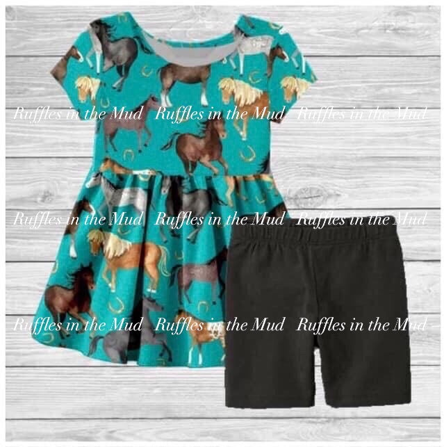 Horseshoes & Horses Shorts Set • PREORDER CLOSES SUNDAY, APRIL 12