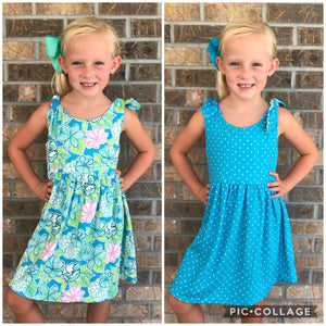 2T, 14/16 • REVERSIBLE Floral & Dot Knot Dress