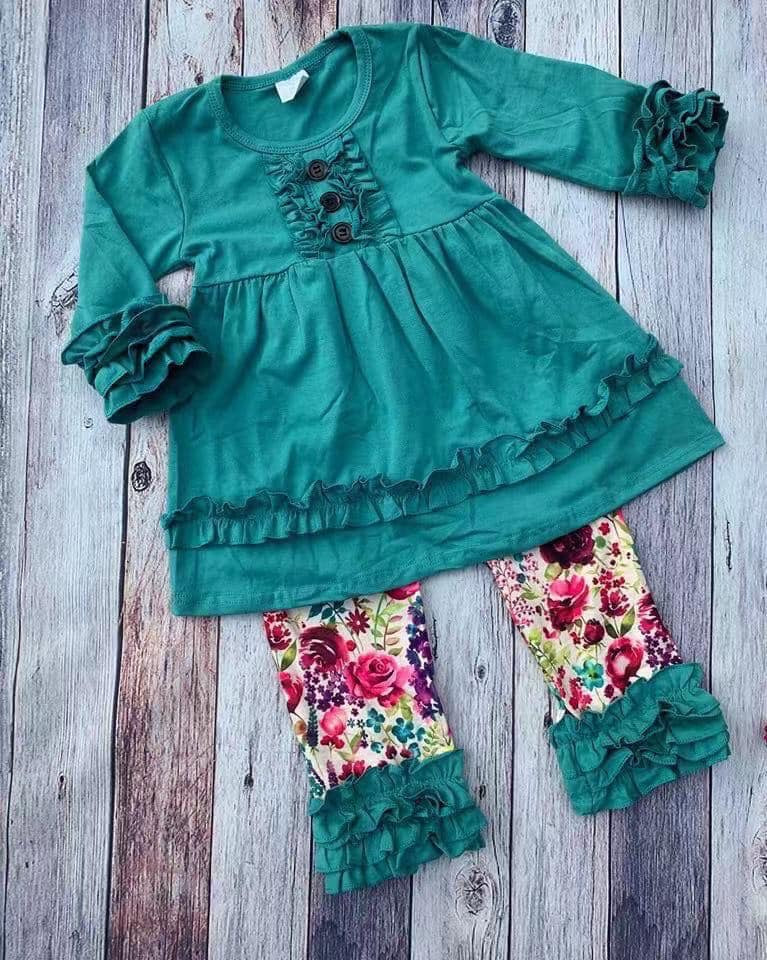 Teal Green Floral Icing Pants Set • PREORDER CLOSES SUNDAY, OCT. 20