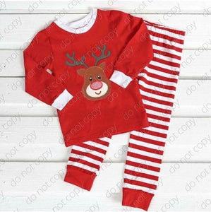 5/6 • Gender Neutral • Red Striped Reindeer Pajamas