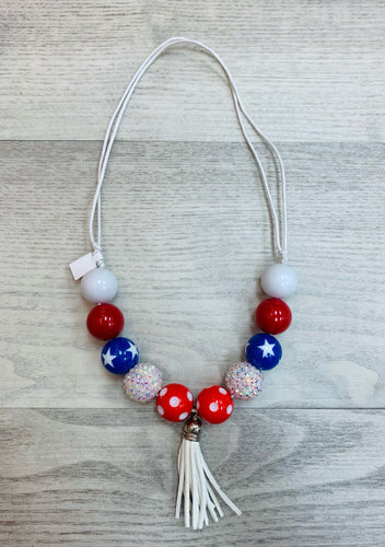 Patriotic White Tassel Adjustable Chunky Bead Necklace