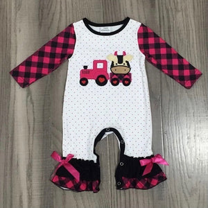 3/6m • Pink Polka Dot & Plaid Cow Ruffle Romper