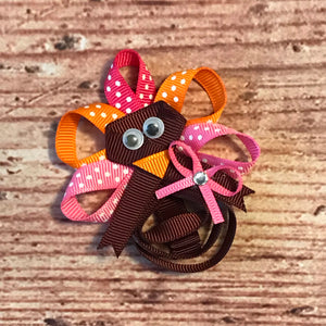 "3"" • Pink & Brown Turkey Loop Hair Bow"