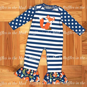 Blue Striped Fox Ruffle Romper • PREORDER CLOSES FRIDAY, JULY 19