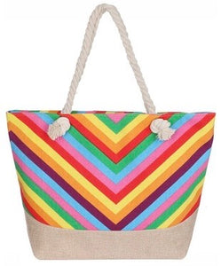 Sunshine Bright Striped Beach Bag
