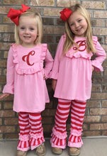 3T • Pink & Red Striped Ruffle Pants Set