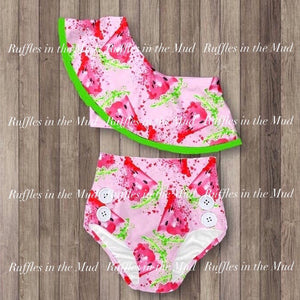 2T • Watermelon One Shoulder Swimsuit