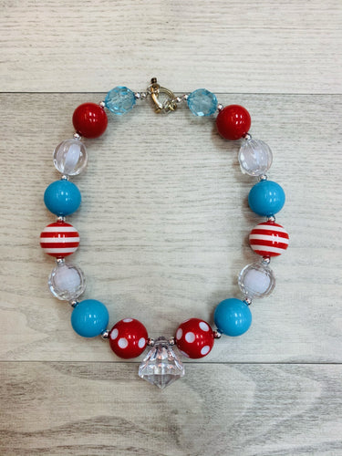 Thing 1 & Thing 2 Chunky Bead Necklace
