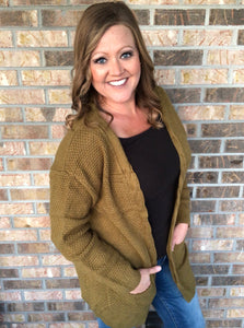 XL, 2XL • Olive Long Pocket Cardigan