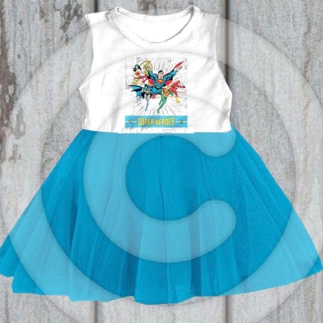 Super Heroes Blue Tank Dress • PREORDER CLOSES SUNDAY, JAN. 12