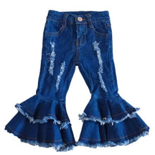 3T, 4T • Double Ruffle Distressed Denim Bells