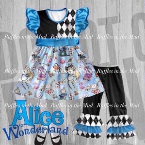 4T • Alice's Adventure Ruffle Pants Set