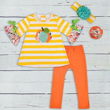 4T, 6/7 • **NAME BRAND REMAKE** Yellow Stripe Pumpkin Patch Pants Set