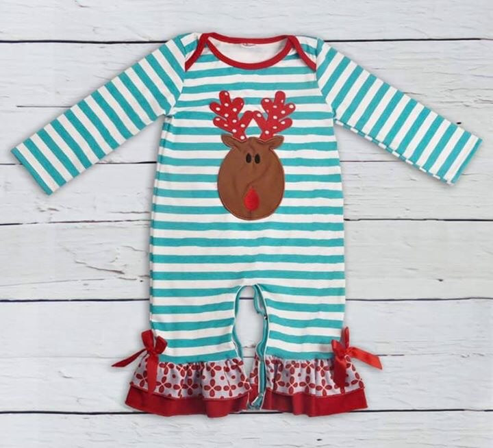Aqua & Red Reindeer Ruffle Romper • PREORDER CLOSES SUNDAY, JULY 14