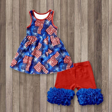 6/7, 7/8, 18/20 • Patriotic Flags Ruffle Shorts Set 💜 Big Sister